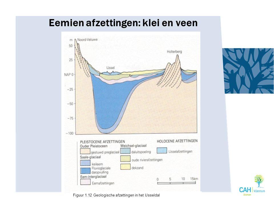 Eemien afzettingen: klei en veen Figuur 1.12 Geologische afzettingen in het IJsseldal