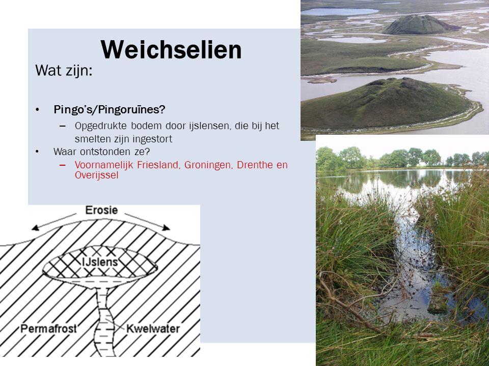 Weichselien Wat zijn: Pingo's/Pingoruïnes.