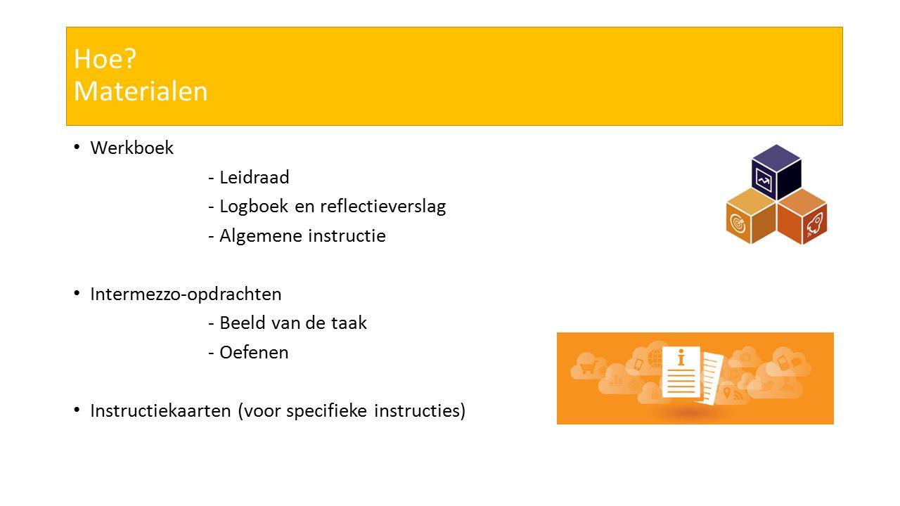 Hoe? Materialen Werkboek - Leidraad - Logboek en reflectieverslag - Algemene instructie Intermezzo-opdrachten - Beeld van de taak - Oefenen Instructie