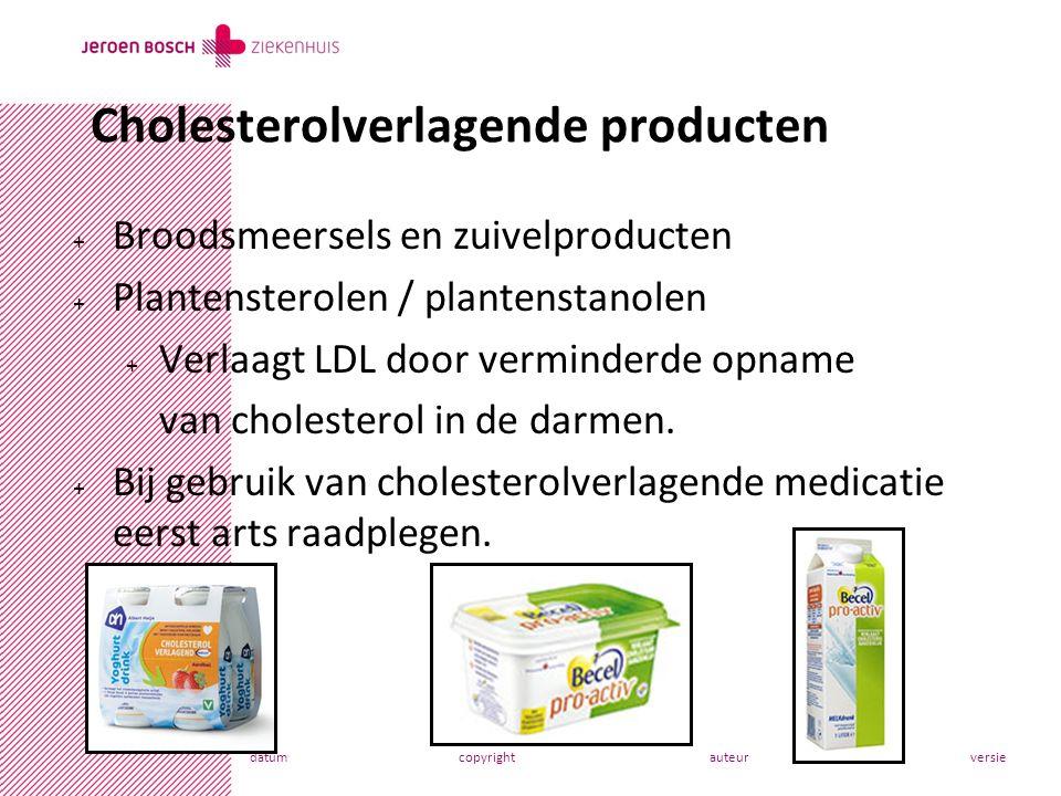 datumcopyrightauteurversie + Broodsmeersels en zuivelproducten + Plantensterolen / plantenstanolen + Verlaagt LDL door verminderde opname van cholesterol in de darmen.