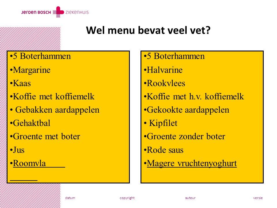 datumcopyrightauteurversie Wel menu bevat veel vet.