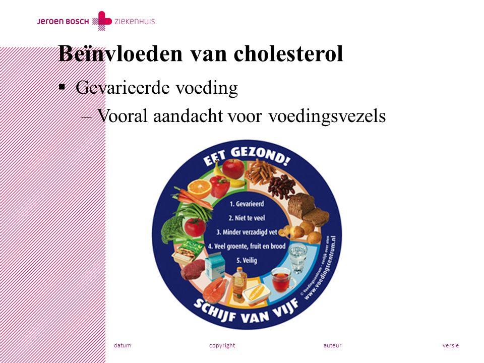 datumcopyrightauteurversie  Gevarieerde voeding –Vooral aandacht voor voedingsvezels Beïnvloeden van cholesterol