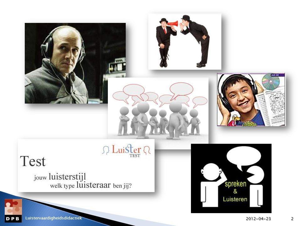 Over luisteren en leren luisteren… 2012-04-233 Luistervaardigheidsdidactiek