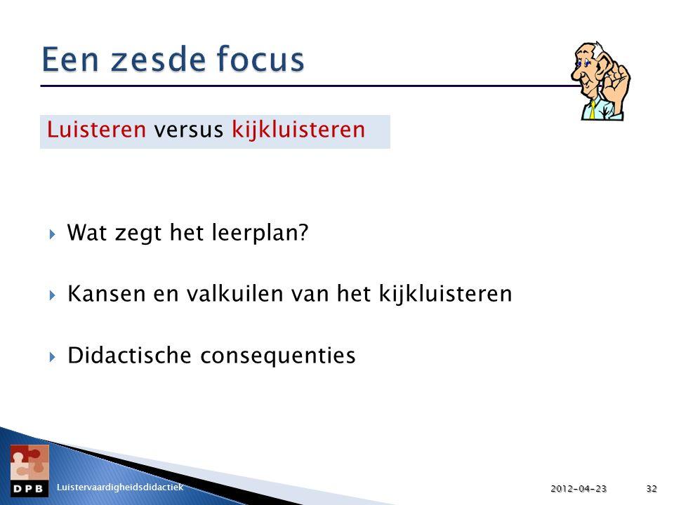  Wat zegt het leerplan?  Kansen en valkuilen van het kijkluisteren  Didactische consequenties Luisteren versus kijkluisteren 2012-04-2332 Luisterva