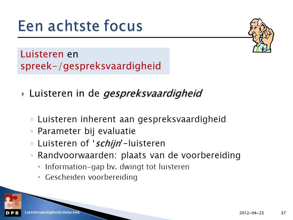 gespreksvaardigheid  Luisteren in de gespreksvaardigheid ◦ Luisteren inherent aan gespreksvaardigheid ◦ Parameter bij evaluatie schijn ◦ Luisteren of 'schijn'-luisteren ◦ Randvoorwaarden: plaats van de voorbereiding  Information-gap bv.