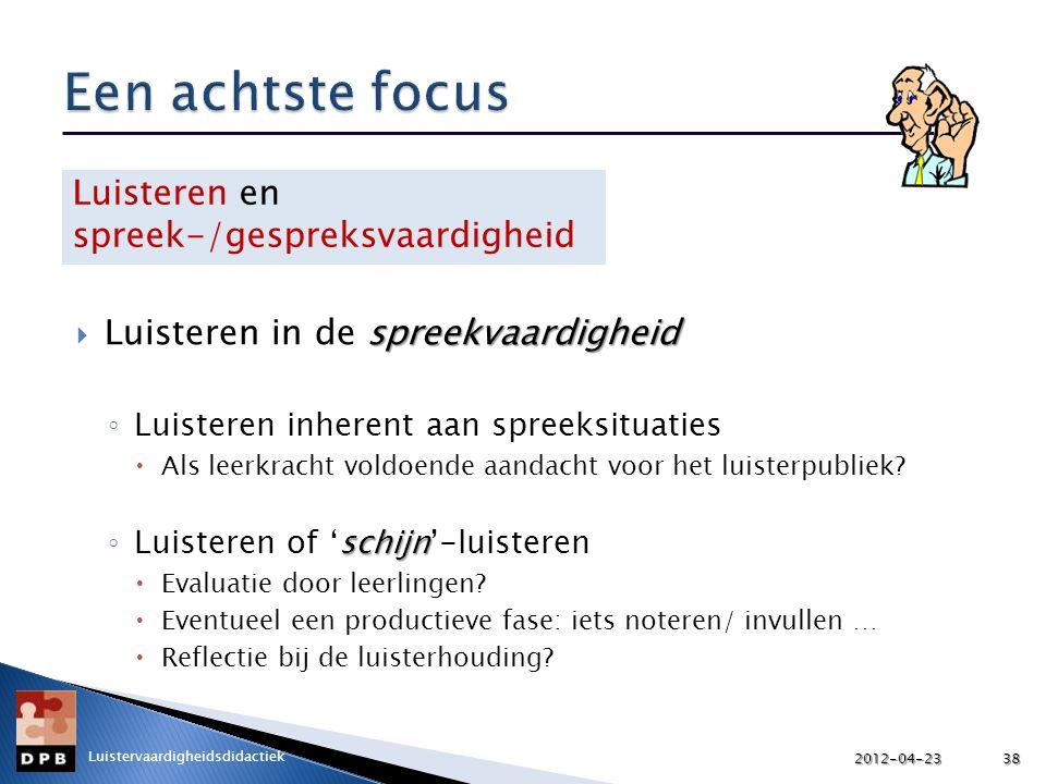 spreekvaardigheid  Luisteren in de spreekvaardigheid ◦ Luisteren inherent aan spreeksituaties  Als leerkracht voldoende aandacht voor het luisterpubliek.