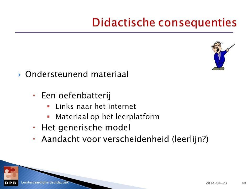  Ondersteunend materiaal  Een oefenbatterij  Links naar het internet  Materiaal op het leerplatform  Het generische model  Aandacht voor verscheidenheid (leerlijn?) 2012-04-2340 Luistervaardigheidsdidactiek