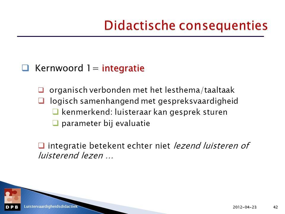 integratie  Kernwoord 1= integratie  organisch verbonden met het lesthema/taaltaak  logisch samenhangend met gespreksvaardigheid  kenmerkend: luis
