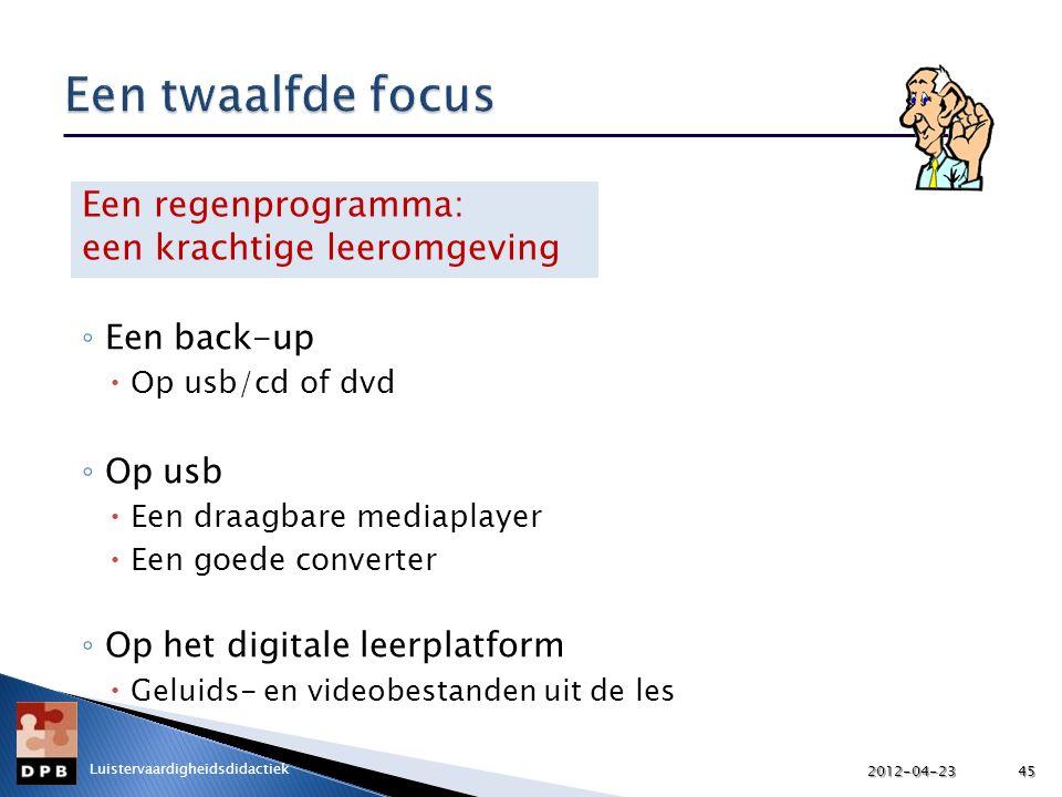 ◦ Een back-up  Op usb/cd of dvd ◦ Op usb  Een draagbare mediaplayer  Een goede converter ◦ Op het digitale leerplatform  Geluids- en videobestande