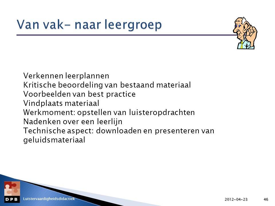 Verkennen leerplannen Kritische beoordeling van bestaand materiaal Voorbeelden van best practice Vindplaats materiaal Werkmoment: opstellen van luiste