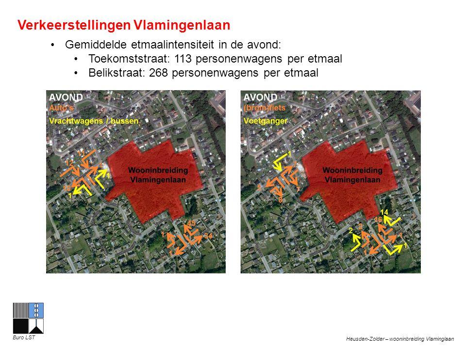 Heusden-Zolder – wooninbreiding Vlaminglaan Buro LST Verkeerstellingen Vlamingenlaan Gemiddelde etmaalintensiteit in de avond: Toekomststraat: 113 personenwagens per etmaal Belikstraat: 268 personenwagens per etmaal