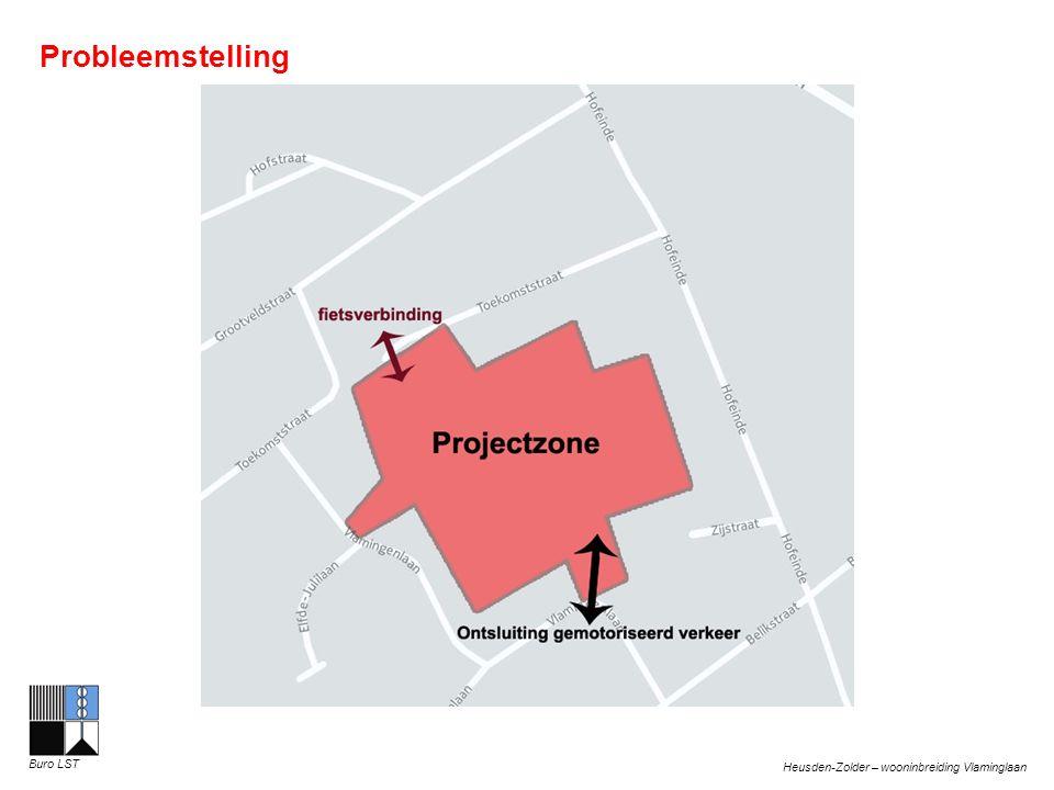 Heusden-Zolder – wooninbreiding Vlaminglaan Buro LST Algemene doelstellingen Zordragen voor: Verkeersveilige ontsluiting van het inbreidingsproject Voldoende aansluitingen voor de zwakke weggebruiker op aanwezige infrastructuren Voldoende parkeergelegenheid binnen de projectzone Het weren van sluik- en doorgaand verkeer Perfecte leefbaarheid voor de bewoners door voldoende open groene ruimtes te voorzien