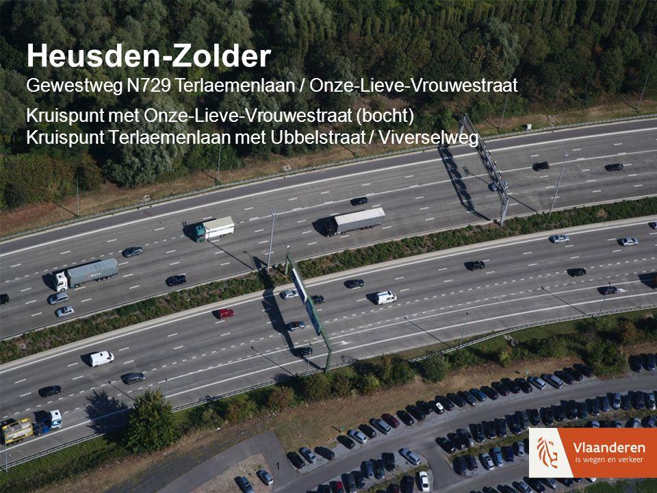 Heusden-Zolder Gewestweg N729 Terlaemenlaan / Onze-Lieve-Vrouwestraat Kruispunt met Onze-Lieve-Vrouwestraat (bocht) Kruispunt Terlaemenlaan met Ubbels