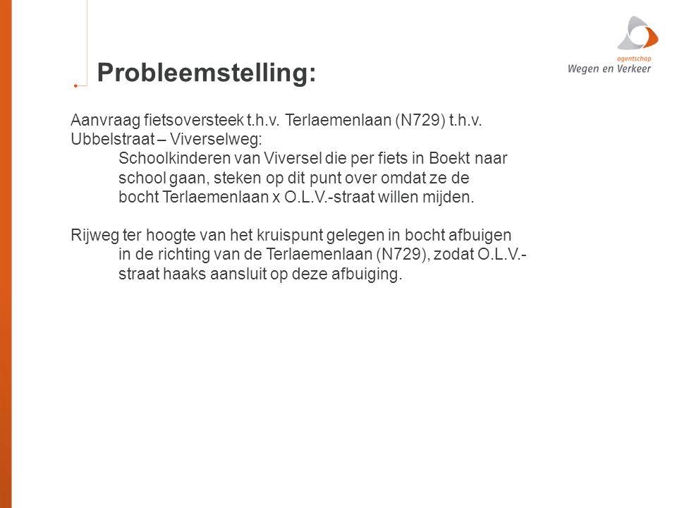 Probleemstelling: Aanvraag fietsoversteek t.h.v. Terlaemenlaan (N729) t.h.v. Ubbelstraat – Viverselweg: Schoolkinderen van Viversel die per fiets in B