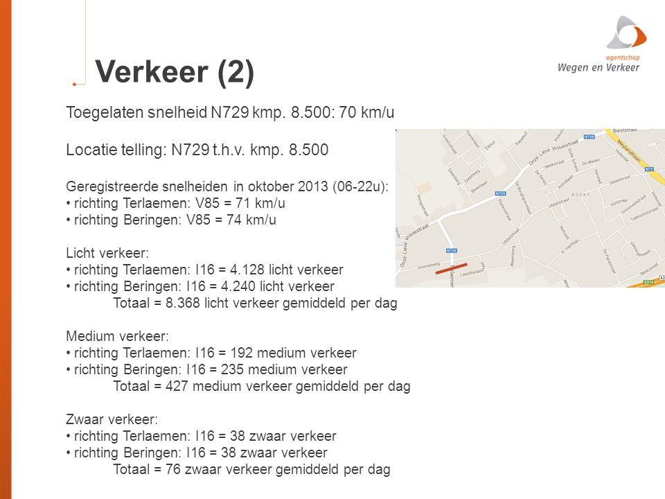 Verkeer (2) Toegelaten snelheid N729 kmp. 8.500: 70 km/u Locatie telling: N729 t.h.v. kmp. 8.500 Geregistreerde snelheiden in oktober 2013 (06-22u): r