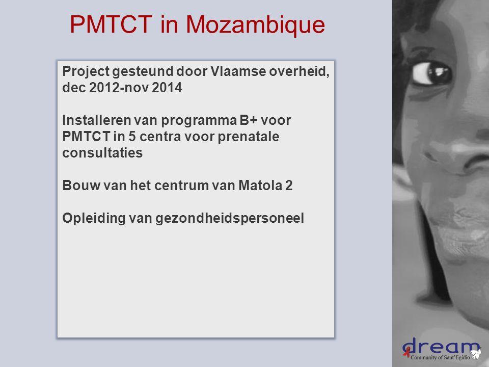 Project gesteund door Vlaamse overheid, dec 2012-nov 2014 Installeren van programma B+ voor PMTCT in 5 centra voor prenatale consultaties Bouw van het centrum van Matola 2 Opleiding van gezondheidspersoneel Project gesteund door Vlaamse overheid, dec 2012-nov 2014 Installeren van programma B+ voor PMTCT in 5 centra voor prenatale consultaties Bouw van het centrum van Matola 2 Opleiding van gezondheidspersoneel PMTCT in Mozambique