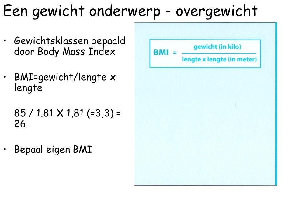 Een gewicht onderwerp - overgewicht Gewichtsklassen bepaald door Body Mass Index BMI=gewicht/lengte x lengte 85 / 1.81 X 1,81 (=3,3) = 26 Bepaal eigen