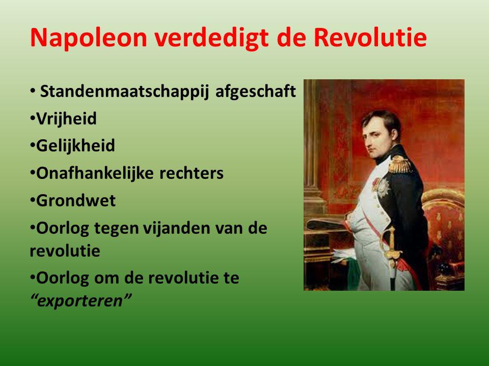 Napoleon verdedigt de Revolutie Standenmaatschappij afgeschaft Vrijheid Gelijkheid Onafhankelijke rechters Grondwet Oorlog tegen vijanden van de revol