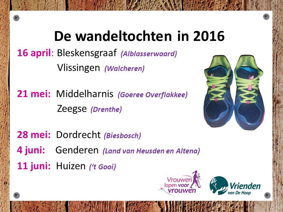 De wandeltochten in 2016: 16 april: Bleskensgraaf (Alblasserwaard) Vlissingen (Walcheren) 21 mei: Middelharnis (Goeree Overflakkee) Zeegse (Drenthe) 28 mei: Dordrecht (Biesbosch) 4 juni: Genderen (Land van Heusden en Altena) 11 juni: Huizen ('t Gooi)