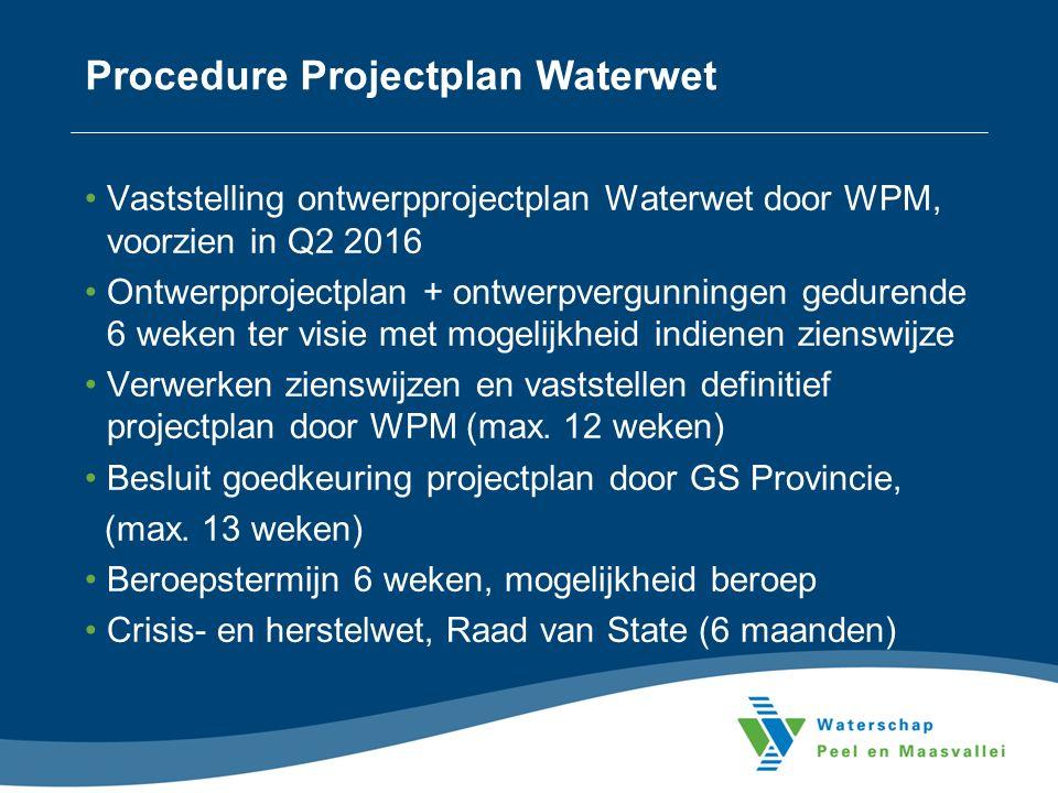 Procedure Projectplan Waterwet Vaststelling ontwerpprojectplan Waterwet door WPM, voorzien in Q2 2016 Ontwerpprojectplan + ontwerpvergunningen gedurende 6 weken ter visie met mogelijkheid indienen zienswijze Verwerken zienswijzen en vaststellen definitief projectplan door WPM (max.