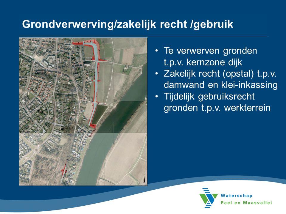 Grondverwerving/zakelijk recht /gebruik Te verwerven gronden t.p.v.
