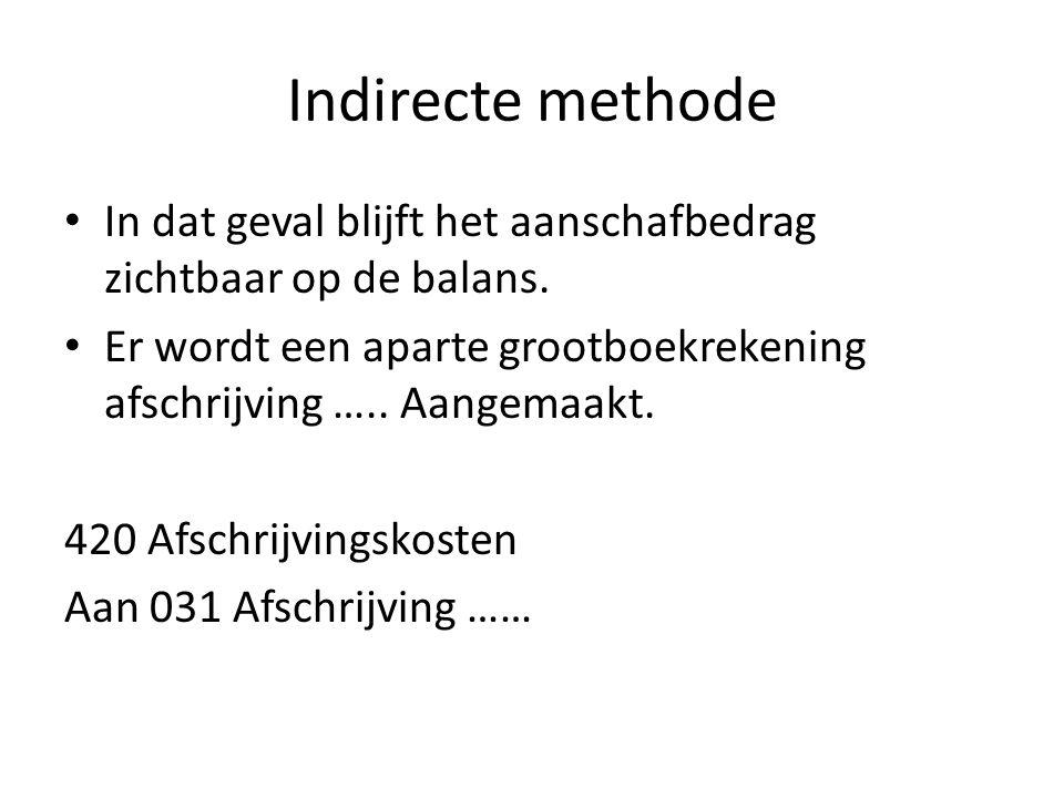 Indirecte methode In dat geval blijft het aanschafbedrag zichtbaar op de balans. Er wordt een aparte grootboekrekening afschrijving ….. Aangemaakt. 42