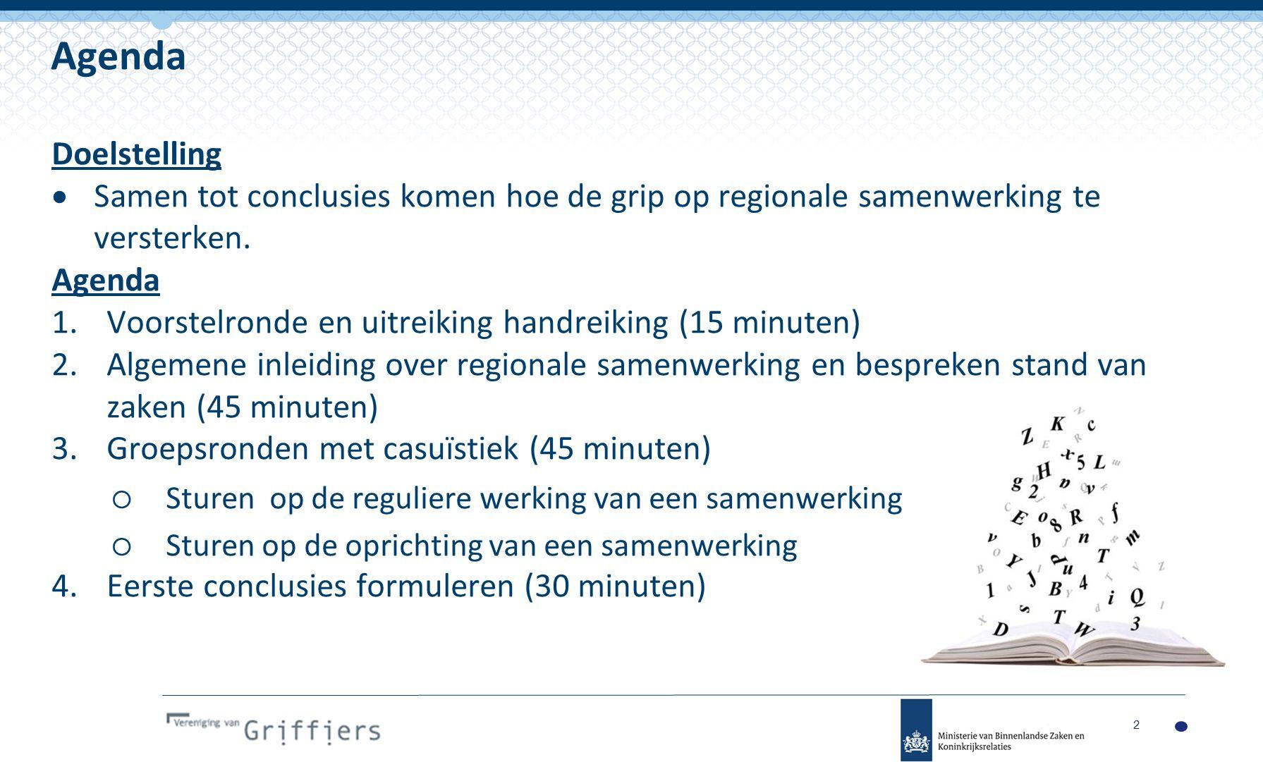 Doelstelling  Samen tot conclusies komen hoe de grip op regionale samenwerking te versterken.