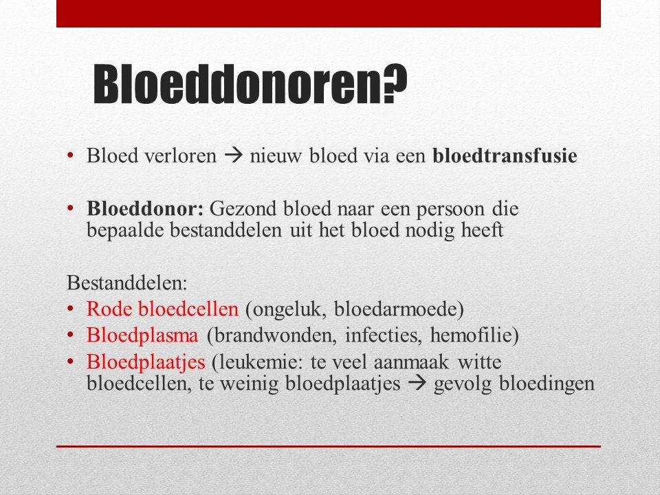 Bloedtransfusie Een ontvanger kan niet zomaar bloed krijgen van iedere donor.