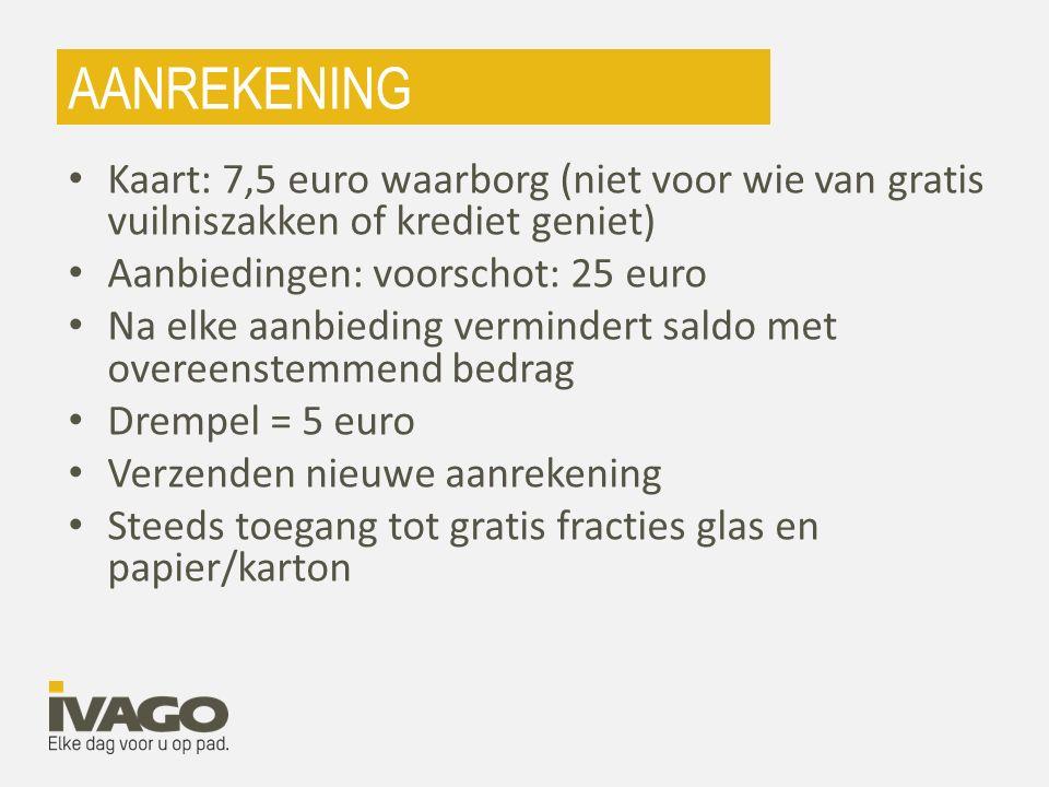 AANREKENING Kaart: 7,5 euro waarborg (niet voor wie van gratis vuilniszakken of krediet geniet) Aanbiedingen: voorschot: 25 euro Na elke aanbieding ve