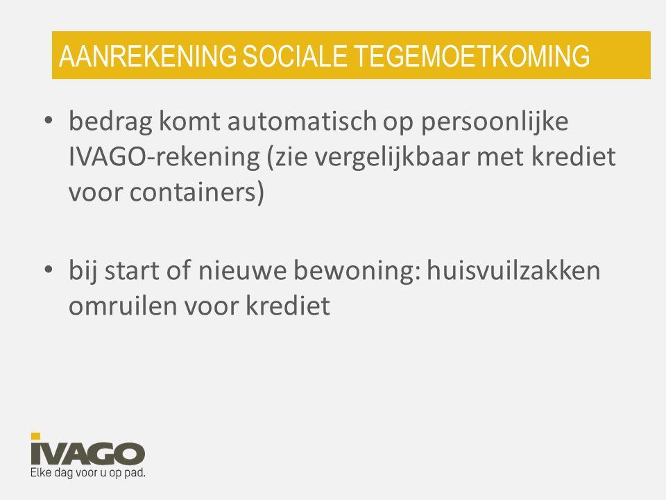 AANREKENING SOCIALE TEGEMOETKOMING bedrag komt automatisch op persoonlijke IVAGO-rekening (zie vergelijkbaar met krediet voor containers) bij start of