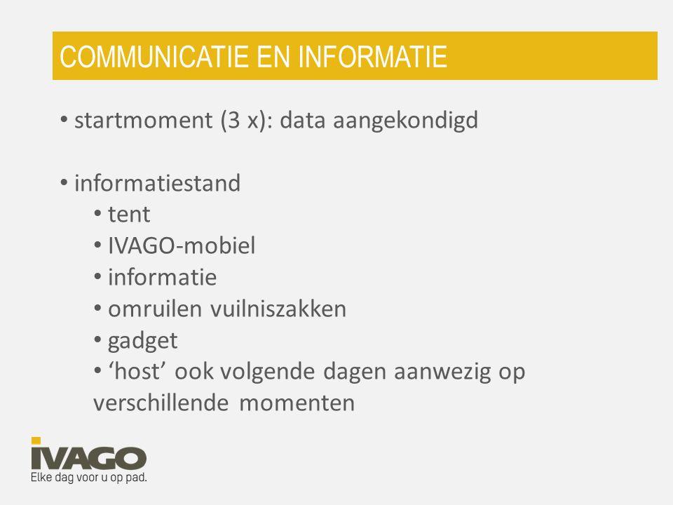 startmoment (3 x): data aangekondigd informatiestand tent IVAGO-mobiel informatie omruilen vuilniszakken gadget 'host' ook volgende dagen aanwezig op verschillende momenten