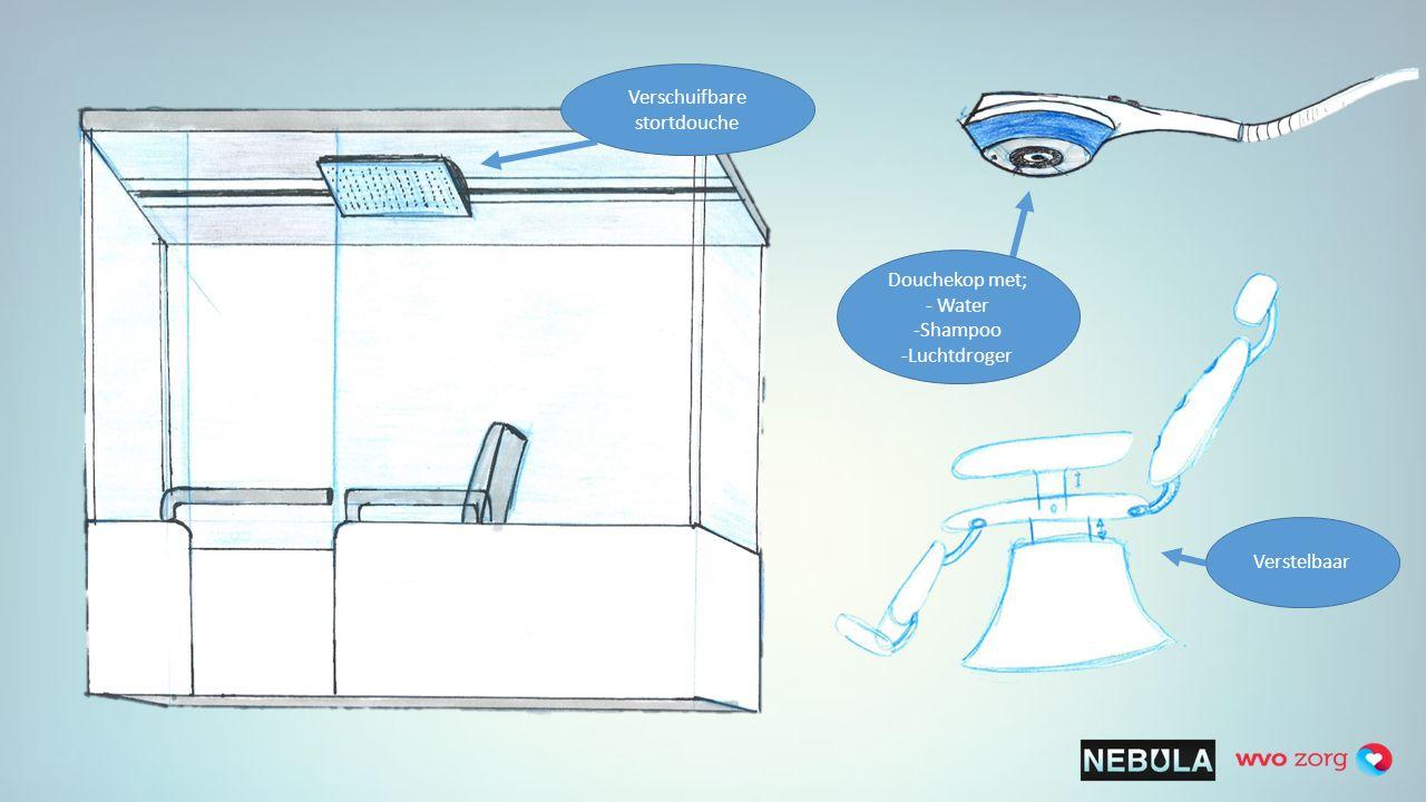 Verschuifbare stortdouche Verstelbaar Douchekop met; - Water -Shampoo -Luchtdroger