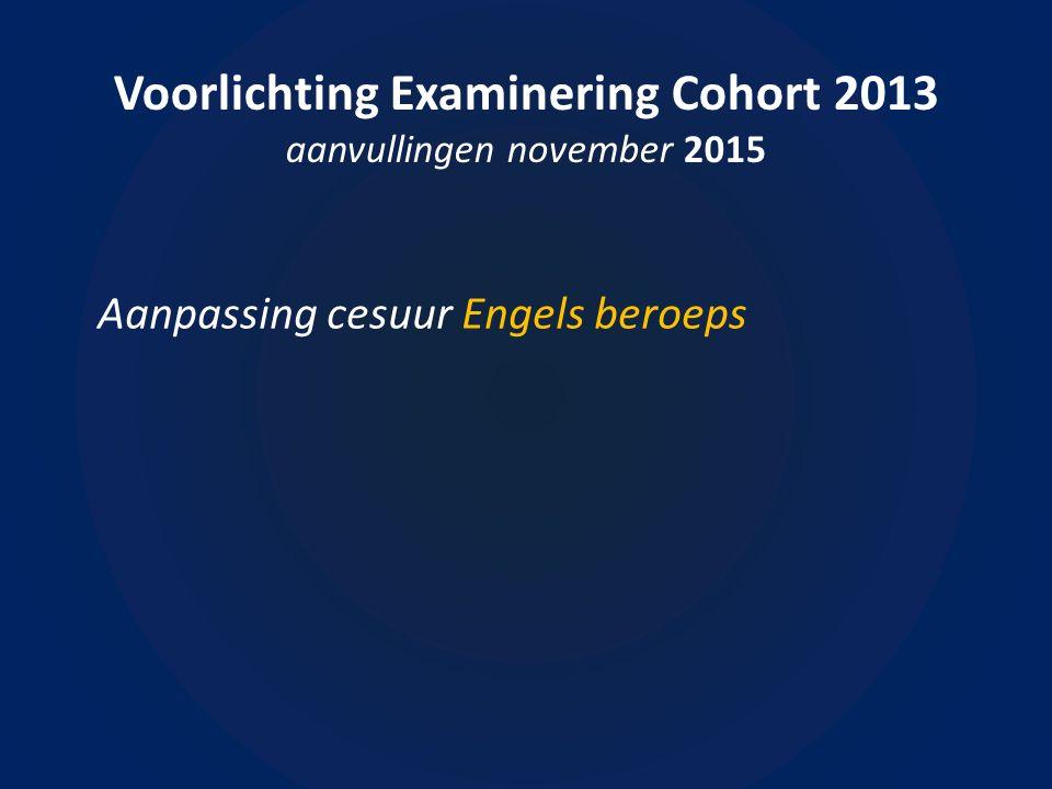 Voorlichting Examinering Cohort 2013 aanvullingen november 2015 Aanpassing cesuur Engels beroeps