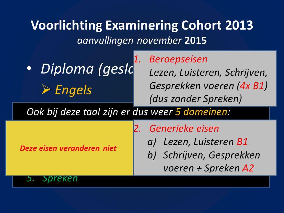 Voorlichting Examinering Cohort 2013 aanvullingen november 2015 Diploma (geslaagd of gezakt)?  Engels Ook bij deze taal zijn er dus weer 5 domeinen: