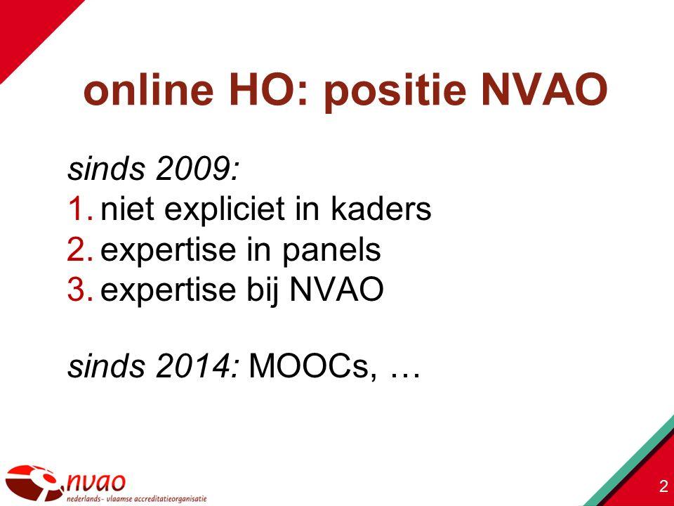 sinds 2009: 1.niet expliciet in kaders 2.expertise in panels 3.expertise bij NVAO sinds 2014: MOOCs, … 2