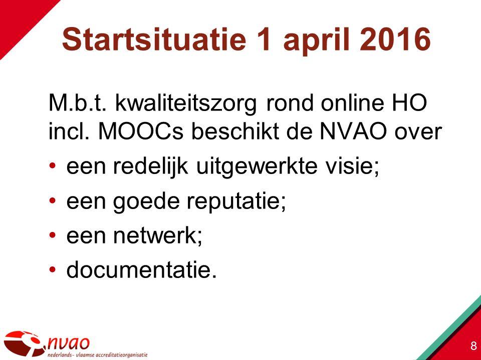 M.b.t. kwaliteitszorg rond online HO incl. MOOCs beschikt de NVAO over een redelijk uitgewerkte visie; een goede reputatie; een netwerk; documentatie.