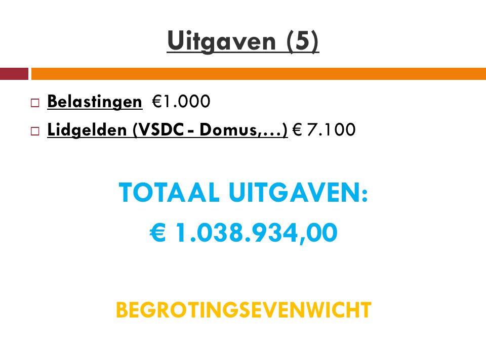 Uitgaven (5)  Belastingen €1.000  Lidgelden (VSDC - Domus,…) € 7.100 TOTAAL UITGAVEN: € 1.038.934,00 BEGROTINGSEVENWICHT