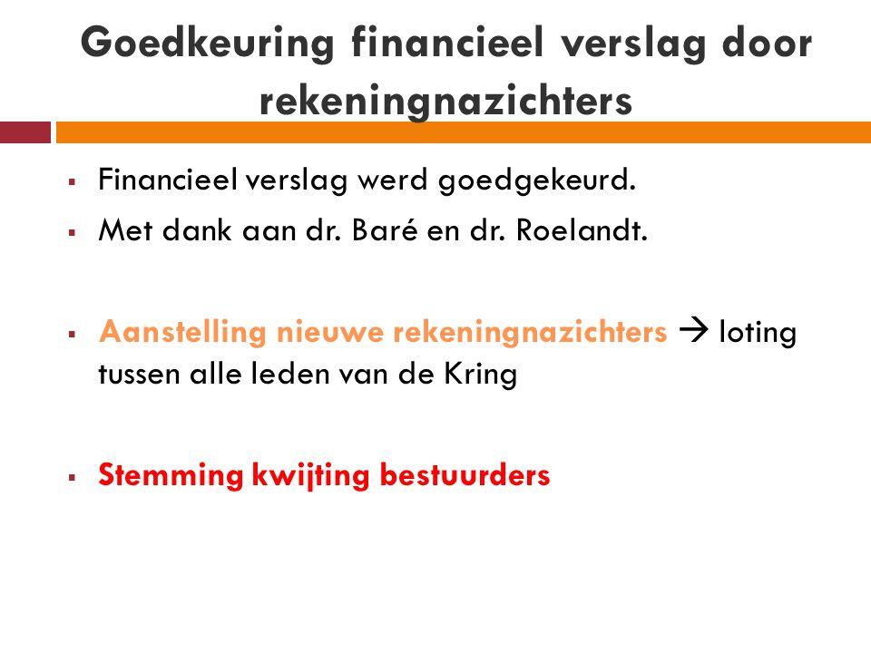 Goedkeuring financieel verslag door rekeningnazichters  Financieel verslag werd goedgekeurd.