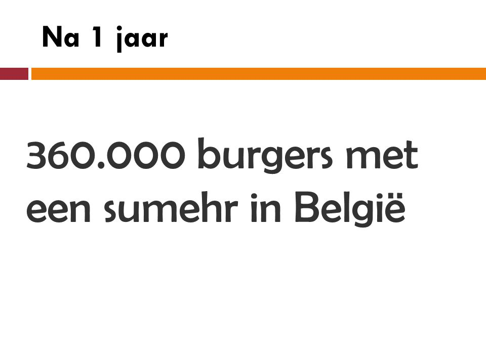 360.000 burgers met een sumehr in België Na 1 jaar