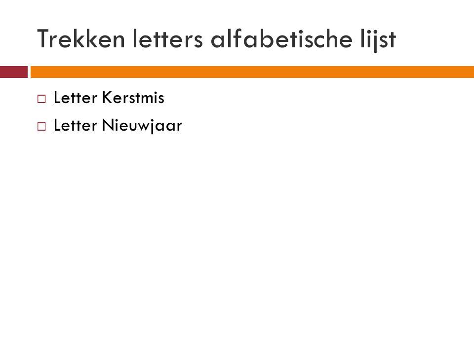 Trekken letters alfabetische lijst  Letter Kerstmis  Letter Nieuwjaar