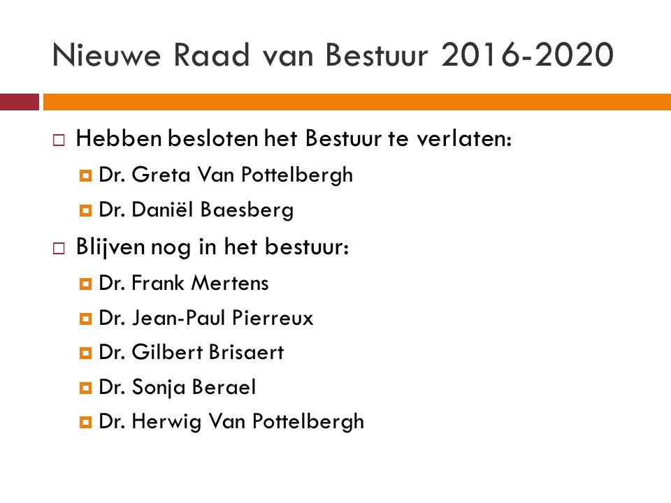 Nieuwe Raad van Bestuur 2016-2020  Hebben besloten het Bestuur te verlaten:  Dr.