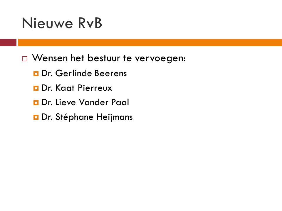 Nieuwe RvB  Wensen het bestuur te vervoegen:  Dr.