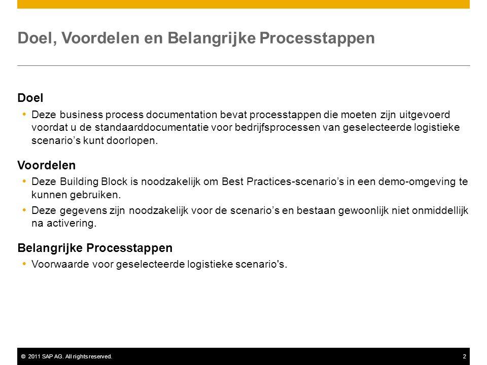 ©2011 SAP AG. All rights reserved.2 Doel, Voordelen en Belangrijke Processtappen Doel  Deze business process documentation bevat processtappen die mo