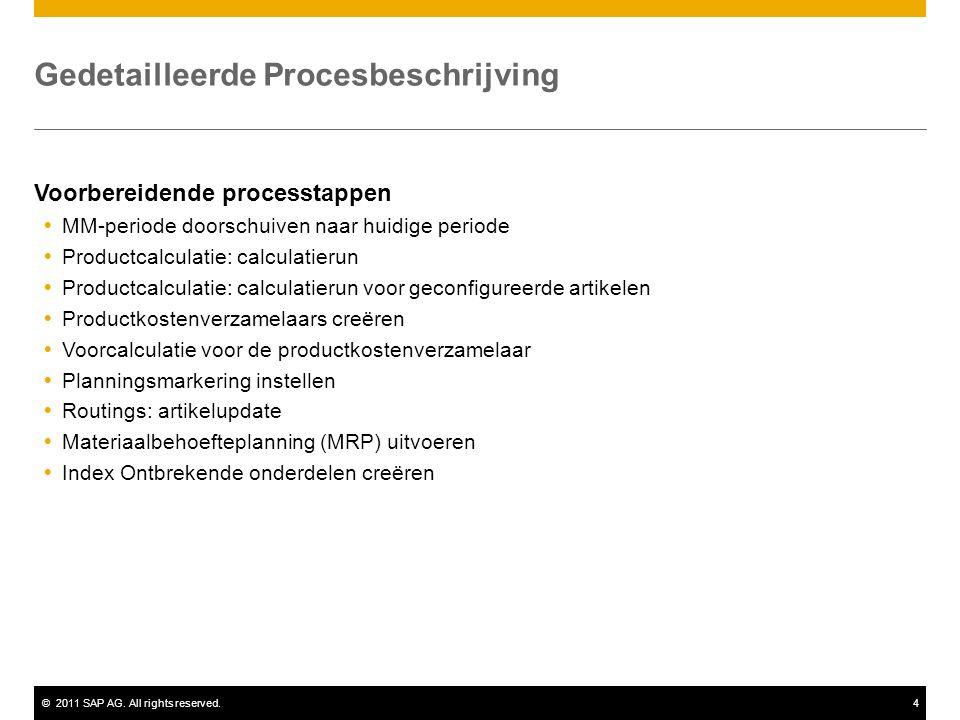 ©2011 SAP AG. All rights reserved.4 Gedetailleerde Procesbeschrijving Voorbereidende processtappen  MM-periode doorschuiven naar huidige periode  Pr