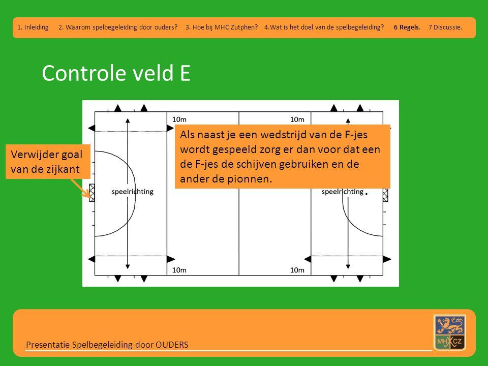 Controle veld E Presentatie Spelbegeleiding door OUDERS 1. Inleiding 2. Waarom spelbegeleiding door ouders? 3. Hoe bij MHC Zutphen? 4.Wat is het doel