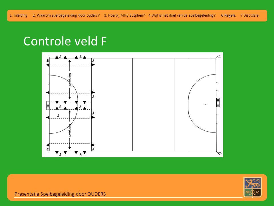 Controle veld F Presentatie Spelbegeleiding door OUDERS 1. Inleiding 2. Waarom spelbegeleiding door ouders? 3. Hoe bij MHC Zutphen? 4.Wat is het doel
