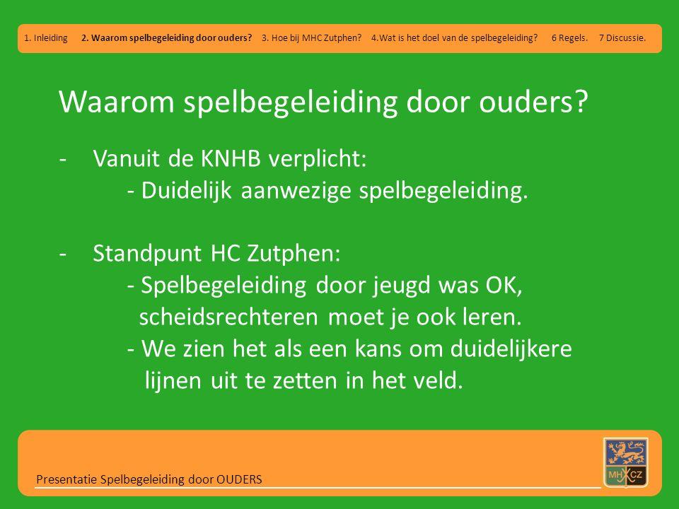 Hoe bij MHC Zutphen.Presentatie Spelbegeleiding door OUDERS 1.