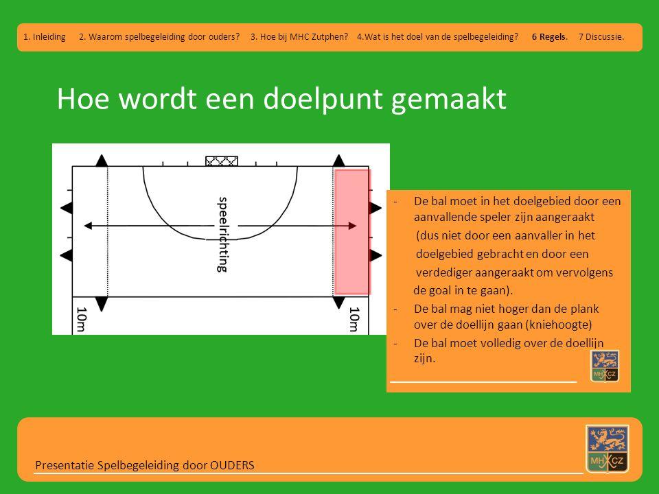 Hoe wordt een doelpunt gemaakt Presentatie Spelbegeleiding door OUDERS 1. Inleiding 2. Waarom spelbegeleiding door ouders? 3. Hoe bij MHC Zutphen? 4.W