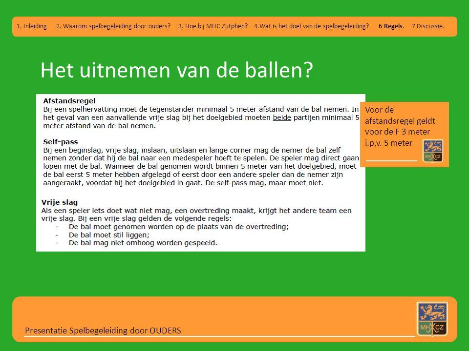 Het uitnemen van de ballen? Presentatie Spelbegeleiding door OUDERS 1. Inleiding 2. Waarom spelbegeleiding door ouders? 3. Hoe bij MHC Zutphen? 4.Wat