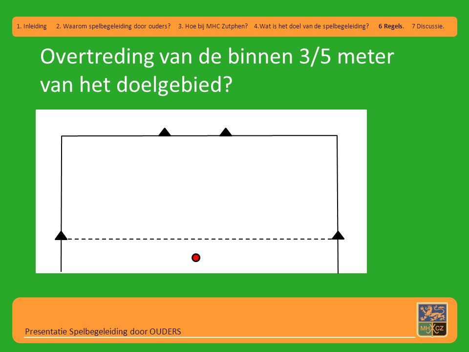 Overtreding van de binnen 3/5 meter van het doelgebied? Presentatie Spelbegeleiding door OUDERS 1. Inleiding 2. Waarom spelbegeleiding door ouders? 3.